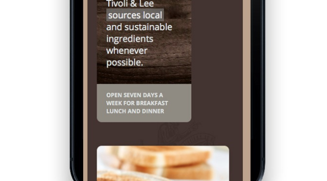 Tivoli and Lee Restaurant / Responsive web design