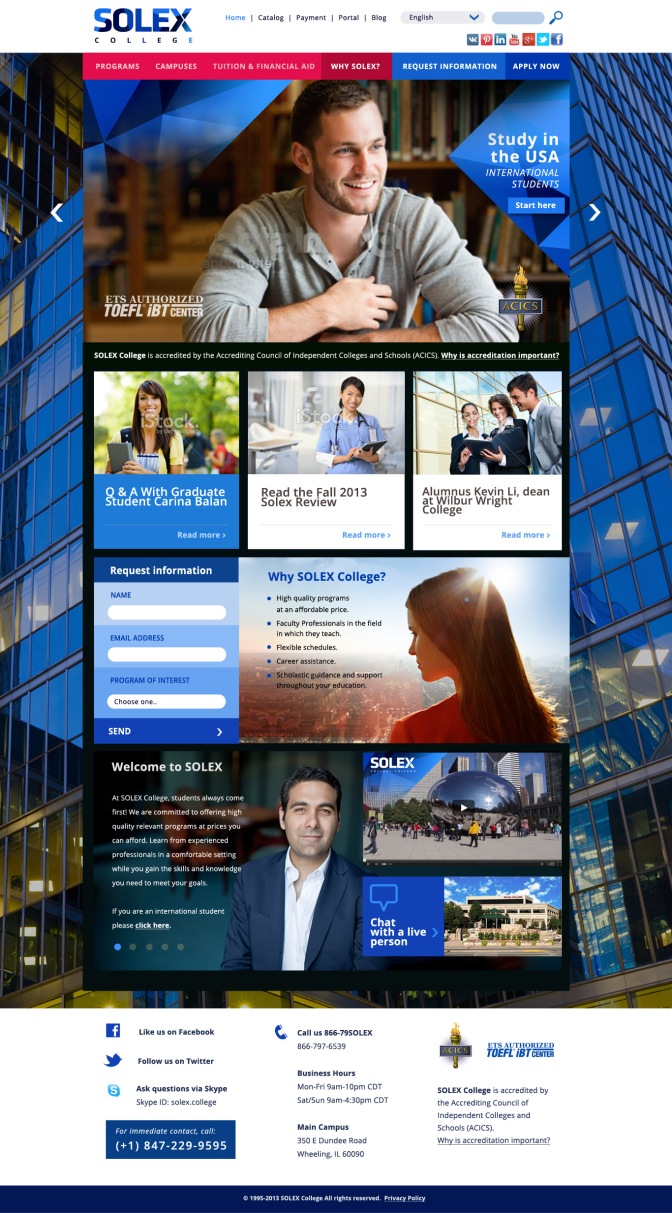 SOLEX College Chicago / Web Design  UI-UX