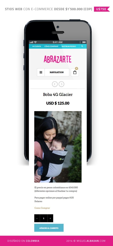 PORTABEBES ABRAZARTE – A UN BESO DE DISTANCIA  / Woo-commerce with responsive web design.